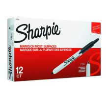 Sharpie Retractable Permanent Markers, Fine Point, Black, 12 Count