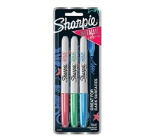 Sharpie Metallic Permanent Markers, Fine Point, Assorted Colors, 3-Count Permanent Marker